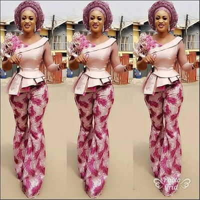 Amazing Top and Trouser Aso Ebi Styles 2018 for Stylish Wedding Guests