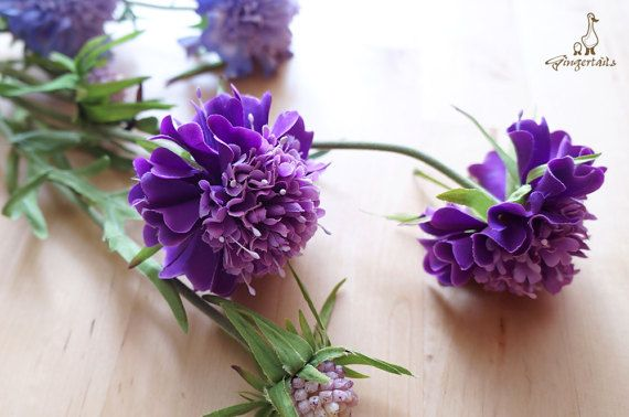 "Purple Scabiosa Each stem measures approx. 27"" in length. Each stem has 2 flowers and 1 bud. Each flower measures approx. 2 1/2"" wide and each bud measures approx. 3/4"" wide. The listing is for ONE stem. Available in two colors:  1) Purple 2) Lavender  ** This scabiosa can be ordered WITH or WITHOUT the stem.  {Perfect for} - bridal bouquet, corsage, boutonniere, headpiece and wedding crown - gift packaging - wedding, anniversary, birthday, party and holiday decorating Handpicked by..."