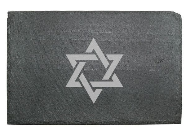 The Star of David is laser etched on this slate serving board.  Great gift.