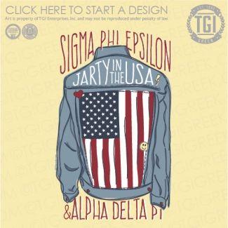 Sigma Phi Epsilon | SigEp | ΣΦΕ | Jarty in the USA | Fraternity Function | Mixer Shirt | TGI Greek | Greek Apparel | Custom Apparel | Fraternity Tee Shirts | Fraternity T-shirts | Custom T-Shirts