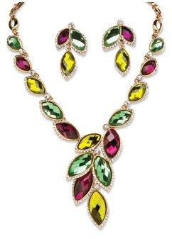 Seta Jewelry Citris, Mint And Plum Marquise Crystal Leaf Necklace And Earrings Set.