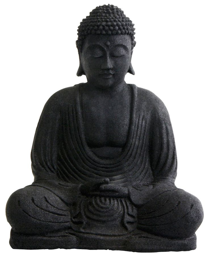 Bring home the serenity and grace of the Buddha with this black sandstone statue. Seated in the lotus position, the Buddhas hands lie in his lap, one over the other with thumb tips touching, a gesture that signifies humility and gratitude. His palms fa