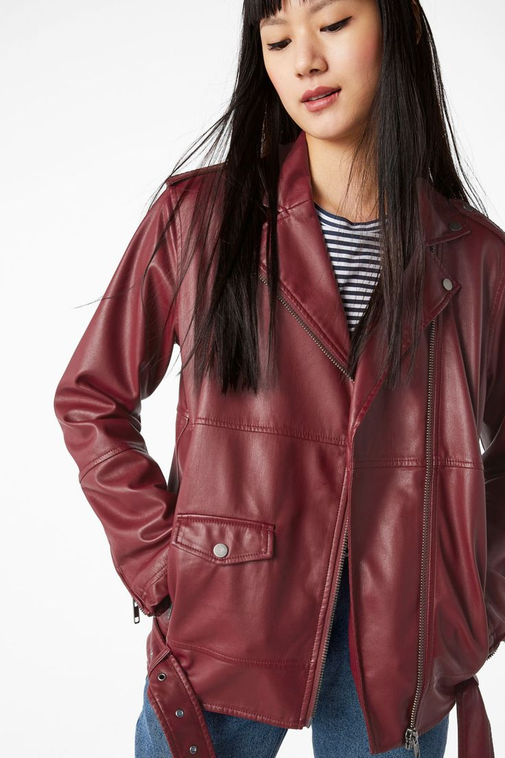 <p>Every girl needs a biker jacket in her closet. Cut from gorgeous soft faux leather, this cool piece has two zip pockets and fastens with a zip down the f