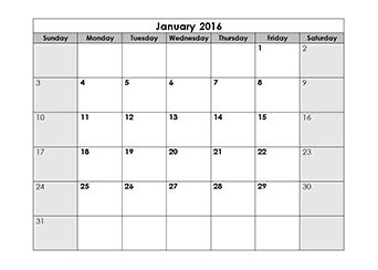 2016 blank monthly calendar template