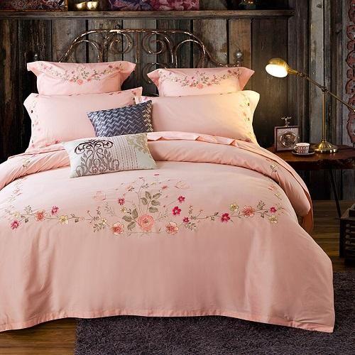 100 Egypt Cotton Coffee Bule Embroidery Luxury Oriental Bedding