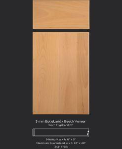 Contemporary slab edgebanded veneer cabinet door in Select Beech by TaylorCraft Cabinet Door Company