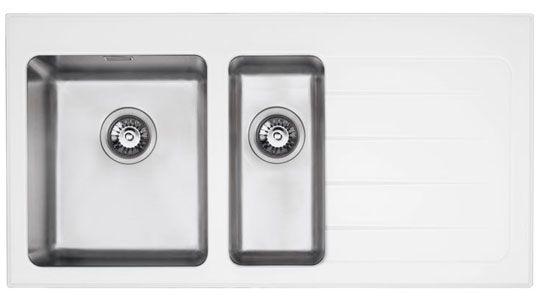 Bluci KubeVetro White Glass 1.5 Bowl Kitchen Sink
