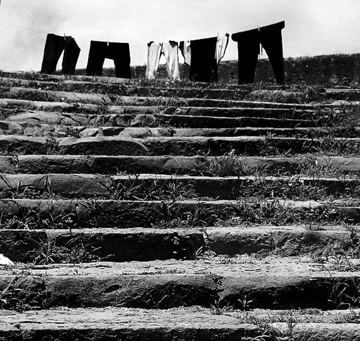 At the top of the steps - laundry in Lisbon