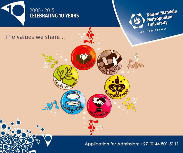 At #NMMUGeorge, we share the following values: responsibility, environment, integrity, Ubuntu, excellence, diversity