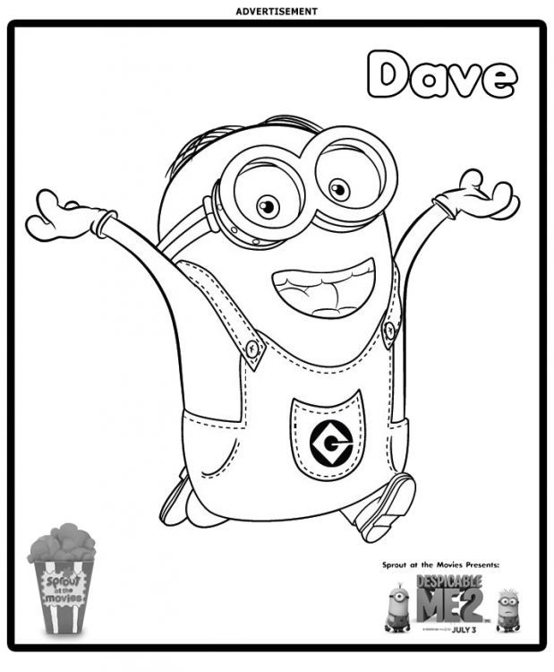 Minions coloring pages peace minion ~ Minion Dave Coloring Page | Katherine bday party ...