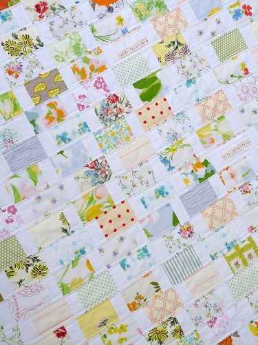 Vintage recycled linens quilt