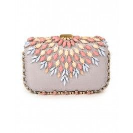 Lilac Clutch with Multicolor Stones