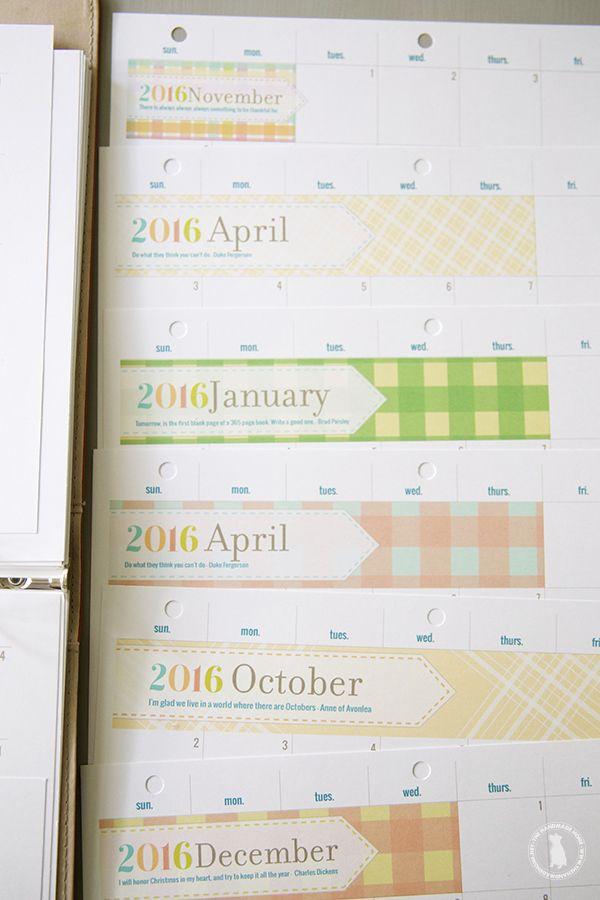 Free 2016 printable calendar planner