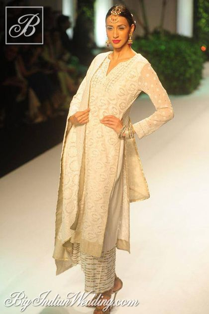 chikan kurta with palazzo pants from Meera & Muzaffar Ali's Collection at Aamby Valley India Bridal Fashion Week, 2013 https://www.facebook.com/media/set/?set=a.481943335158120.111478.146357585383365=3