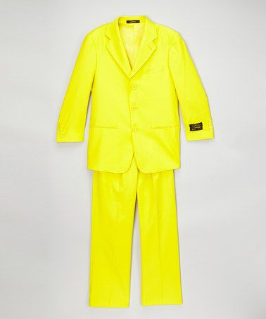 Loving this Yellow Two-Button Suit Set on #zulily! #zulilyfinds