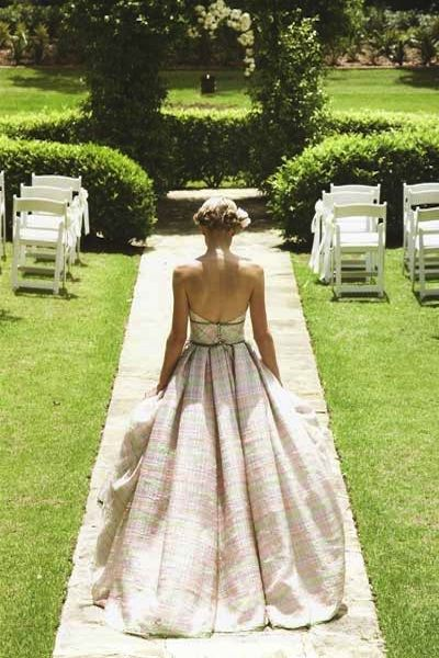 garden wedding...plaid wedding dress...Victorian-esque garden party