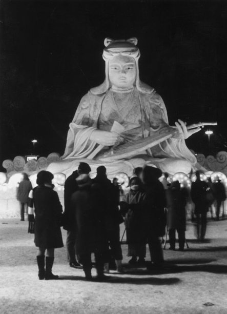 An archival image of a stunning snow sculpture at the Sapporo Snow Festival