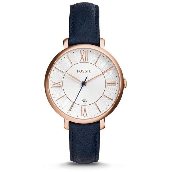 Fossil Jacqueline Three-Hand Date Leather Watch Blue (3.275 UYU) ❤ liked on Polyvore featuring jewelry, watches, accessories, bracelets, fossil bracelet, genuine leather bracelet, blue bracelet, leather bracelet and fossil watches