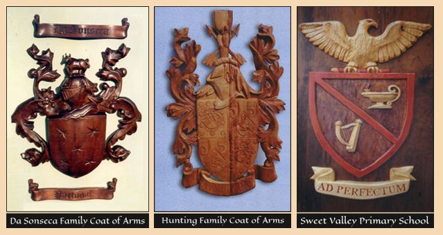 Coats of Arms hand carved in wood by the Sign Carver for businesses, Families and Schools.   http://www.signcarver.co.za/coats-of-arms/