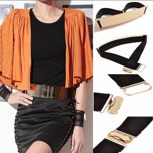 Gold Metal Belt wide front elastic back Price: TBA Shonz Fashion