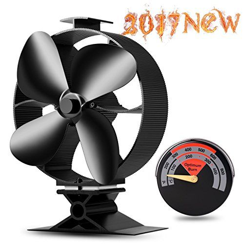 2017 New Designed Silent Operation 4-Blades Large Heat Powered Stove Fan with Free Stove Thermometer for Wood/Log Burner/Fireplace- Eco Friendly(Black) #Designed #Silent #Operation #Blades #Large #Heat #Powered #Stove #with #Free #Thermometer #Wood/Log #Burner/Fireplace #Friendly(Black)