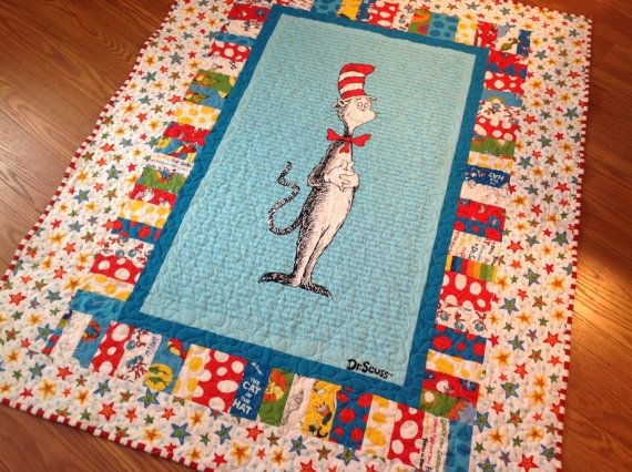 Colorful Dr Seuss Baby, Crib or Toddler Quilt -- blue, red, white -- minky backing