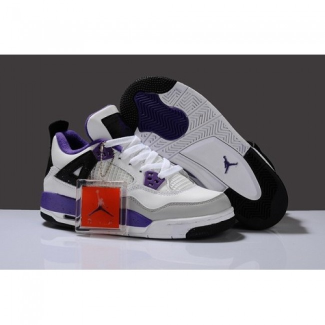 Fitted For Air Jordan 4 IV Women Shoes White/Purple 1009 http://