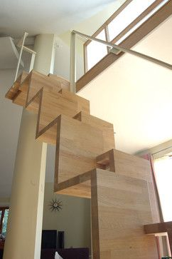Alternating tread staircase by Bristol architect moon design + build ... good for reduced space stairs?