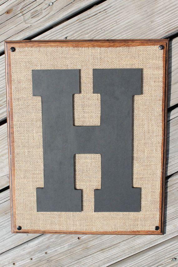 burlap monogram letters wood wall plaque rustic western decor alphabet a z 145 by