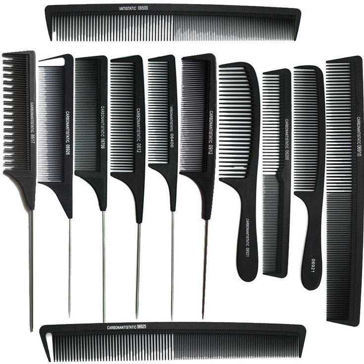 Hot sale ! 12pices Black Professional Combs Hairdressing Hair Salon Styling Barbers Comb Set Kit Rat Tail Comb