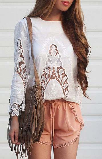 Floral White Cut Out Top: