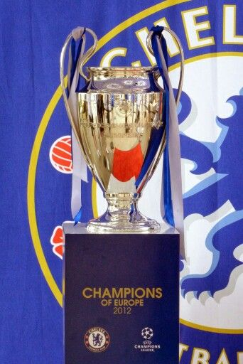 UEFA Champions League trophy. 2012 Champions Chelsea Football Club.