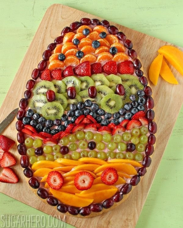 Fruit Pizza--This one is made into a festive egg design for Easter.  Even though it's basically a giant glorified cookie, somehow all of the fruit makes this seem like a really fresh, healthy dish. [As long as you ignore the cookie and frosting part.] It's a perfect brunch dish, or a nice way to end a light meal al fresco.
