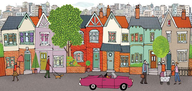 #emmabrownjohn #newdivision #illustration #digital #line #stylised #houses #street #car #character