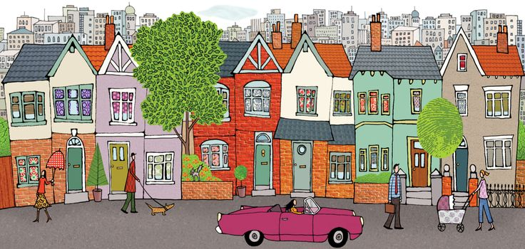 #emmabrownjohn #newdivision #illustration #digital #line #stylised #houses #street #car #character