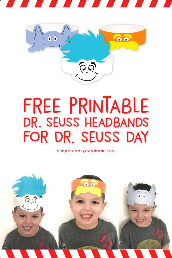 free printable dr seuss hats: thing 1, lorax, horton