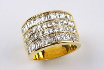 Rows of Baguettes Ring Gold: This statement cocktail piece is simple yet luxurious. A stunning ring with rows of baguettes channel set in wide band. Cubic zirconia, 18 carat heavy gold electroplate.  $165.00