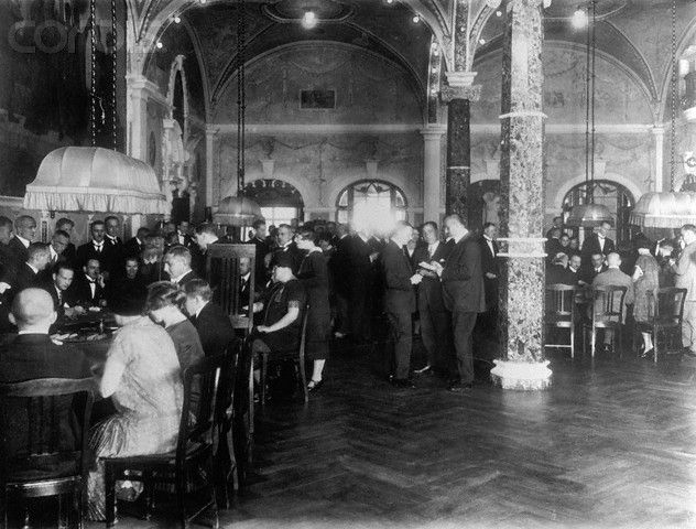 1925. Zoppot by Danzig. View of Gamblers in Polish Casino. Stock Photo - Corbis