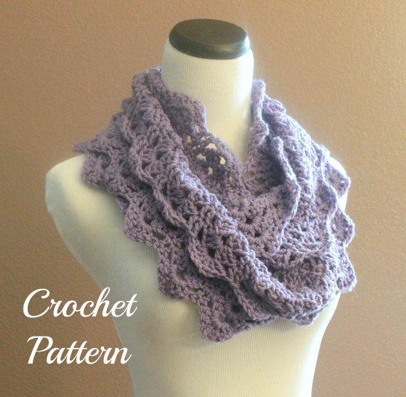 Crochet PATTERN PDF Crochet Flower Scarf Pattern by OnTheHook