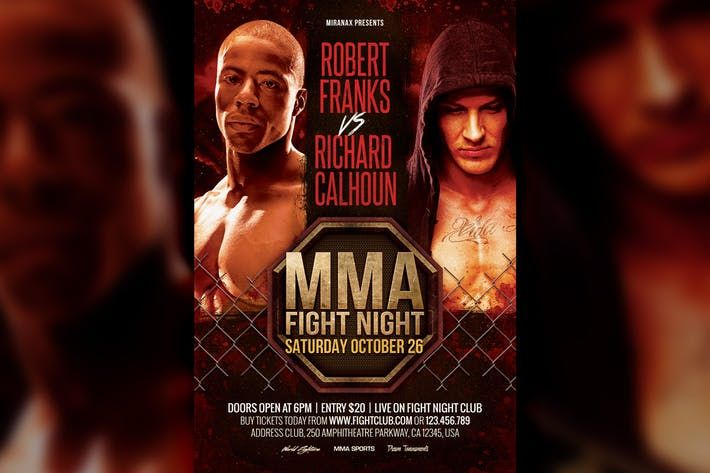 Mma Boxing Fight Night Showdown Flyer Template Sports Poster