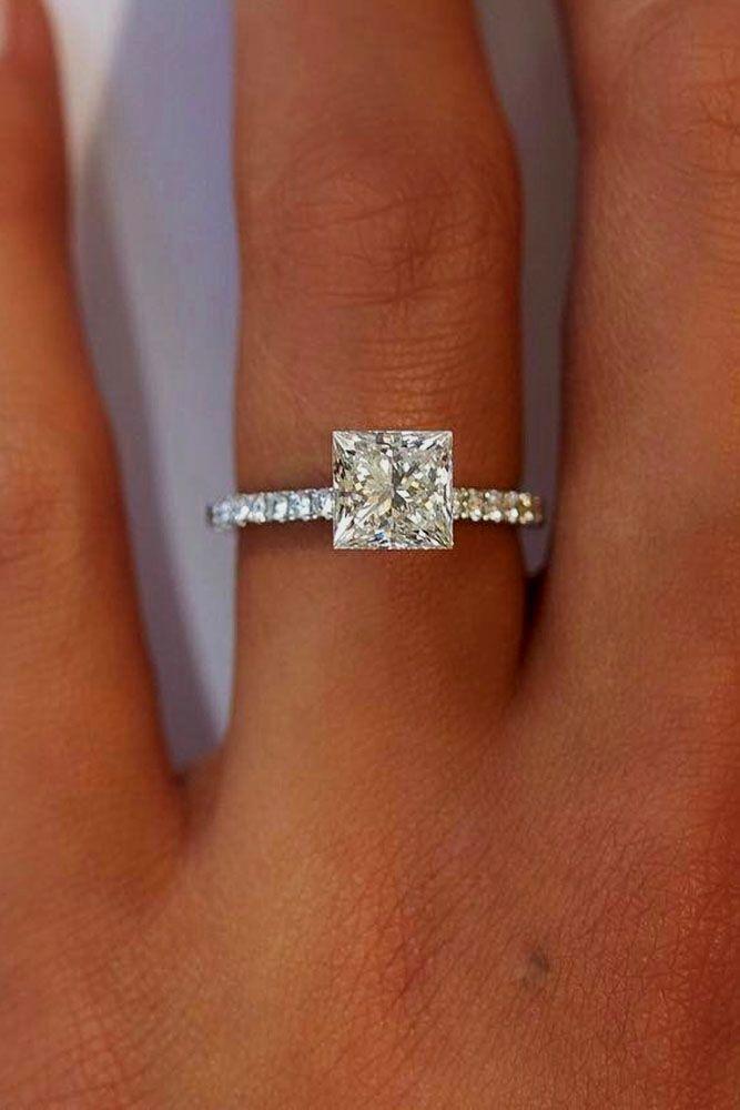 21 Breathtaking Princess Cut Engagement Rings ❤️ See more: http://www.weddingforward.com/princess-cut-engagement-rings/ #wedding #princesscutdiamondring