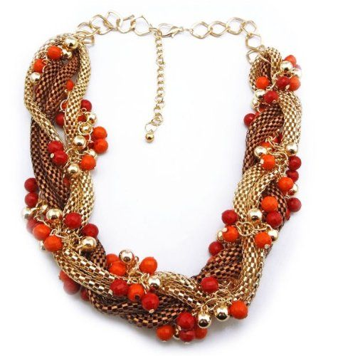 #WIIPU Ladies #Chunky Statement Ball Beads Metal Mesh Braided Chain #Collar #Necklace(red-orange) http://www.mysharedpage.com/wiipu-ladies-chunky-statement-ball-beads-metal-mesh-braided-chain-collar-necklacewiipu-b190-red-oran $99.99