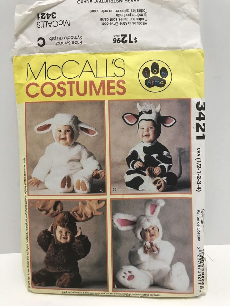 3421 McCall's Sewing Pattern Child Baby Costume Cow Bunny Rabbit Sheep Moose