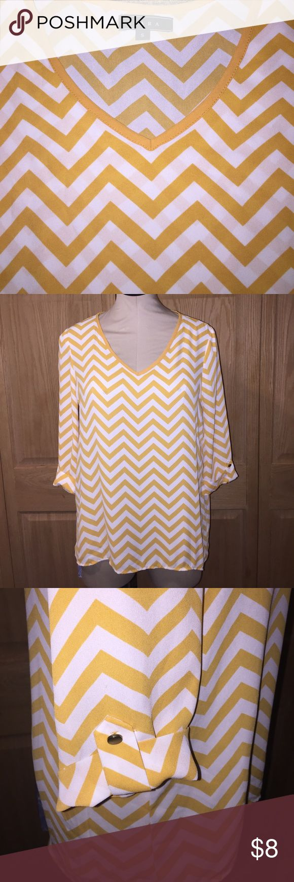 Kiara mustard yellow and white chevron shirt Chevron three quarters length shirt dressy top size small juniors kiara Tops Blouses