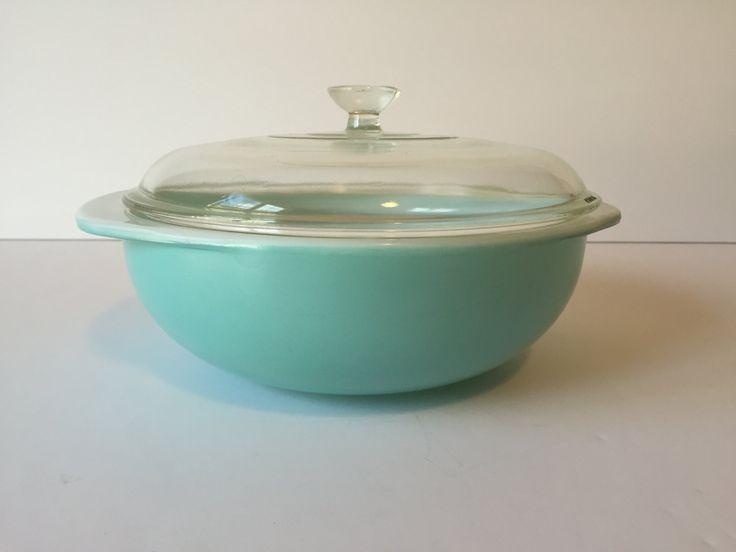 Vintage Blue/Aqua Pyrex Bowl, Round Pyrex Bowl with Lid, 2-Quart Ovenware, Pyrex #024, Casserole Dish, Baking Dish, Vintage Pyrex by GirlGoesVintage on Etsy