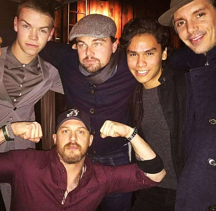 """: D From lauriegoodluck - """"The Revenant cast: Will Poulter, Leo DiCaprio, Forrest Goodluck, Lukas Haas, and Tom Hardy REUNITED at BLAINE HALVORSON studio reception! """""""