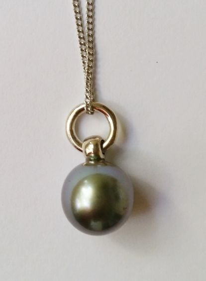 Salt Water & Fire 925 sterling silver 10mm Tahitian South Sea cultured pearl pendant (display chain only) $255