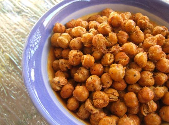 Roasted Chickpeas:  For this experiment, I simply drained and rinsed a can of chickpeas, tossed them with some spices (I here used my homemade for-Dirty Rice sp…