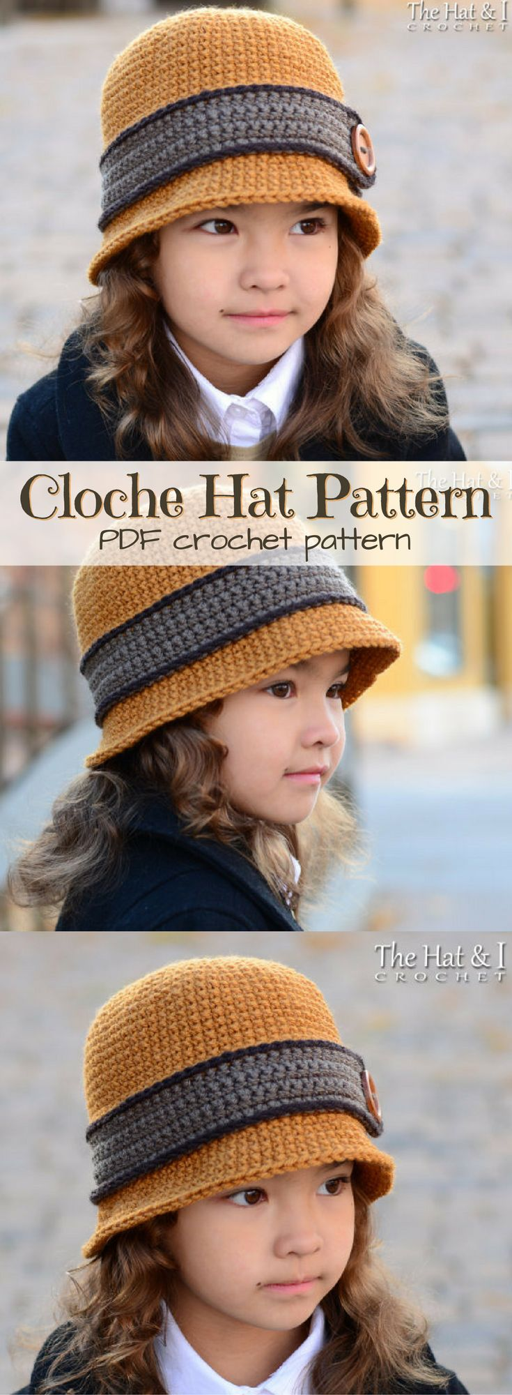 Such a cute hat pattern! Classic Cloche Hat for girls, or fold the rim and it's a bowler hat for boys! So fantastic! What a great idea! Can be made in sizes infant to adult! #etsy  #ad #pdf #crochet #pattern #instant #download #printable