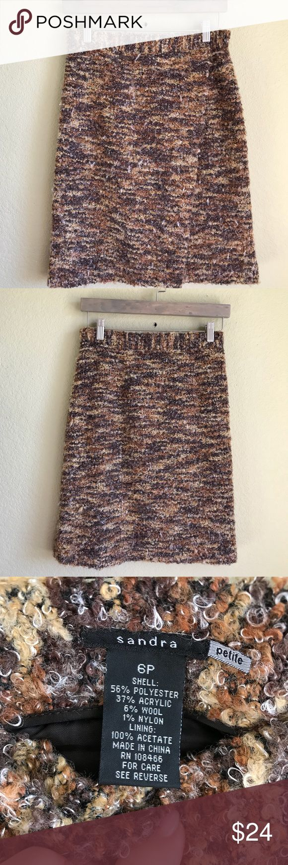 """SANDRA Boucle Faux Wrap Pencil Skirt SANDRA Boucle Faux Wrap Pencil Skirt Size 6P Array of warm brown & tan colors 14.5"""" waist 22"""" length  Thank you for looking and please check out the price my closet. sandra Skirts Pencil"""